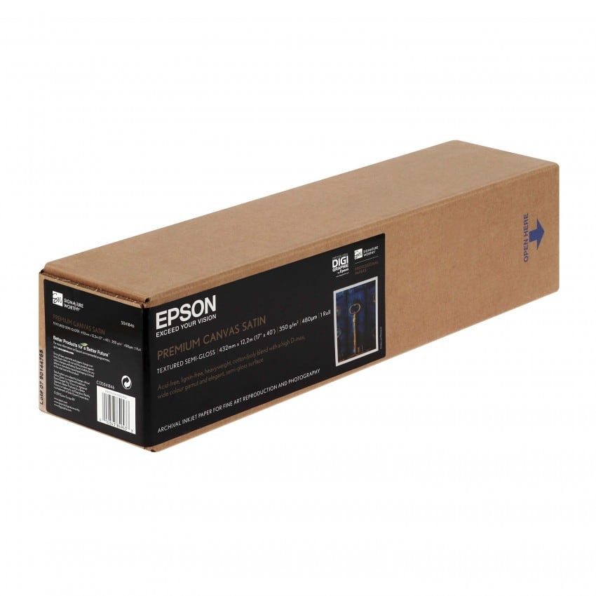 """Toile canvas jet d'encre EPSON Premier toile Polycoton satin 350g - 17"""" (43,2cm) - 12,2m"""