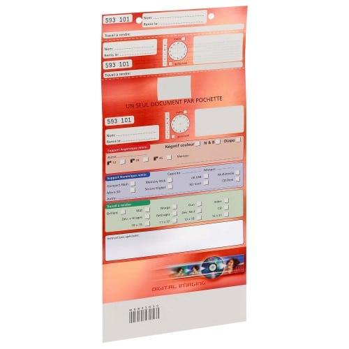 Pochette d'ordre MB TECH Digital Imaging - Rouge - Largeur 16,5cm - Carton de 500 (avec code barre et ticket client détachable)