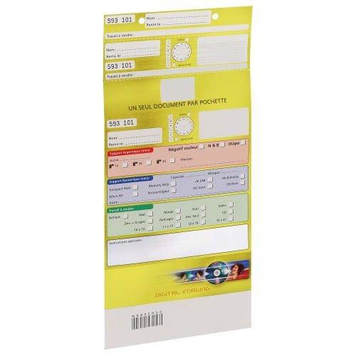 Pochette d'ordre MB TECH Digital Imaging - Jaune - Largeur 16,5cm  -Carton de 500 (avec code barre et ticket client détachable)