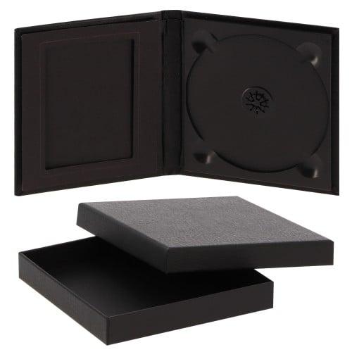 DEKNUDT - Boîte de rangement pour DVD & photos en simili cuir noir