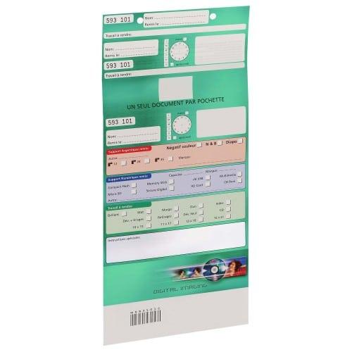 Pochette d'ordre MB TECH Digital Imaging - Verte - Largeur 16,5cm - Carton de 500 (avec code barre et ticket client détachable)