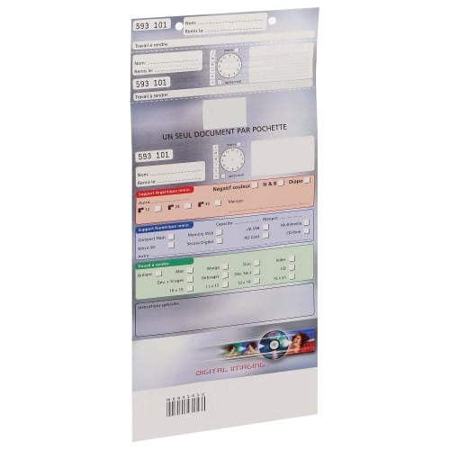 Pochette d'ordre MB TECH Digital Imaging - Grise - Largeur 16,5cm - Carton de 500 (avec code barre et ticket client détachable)