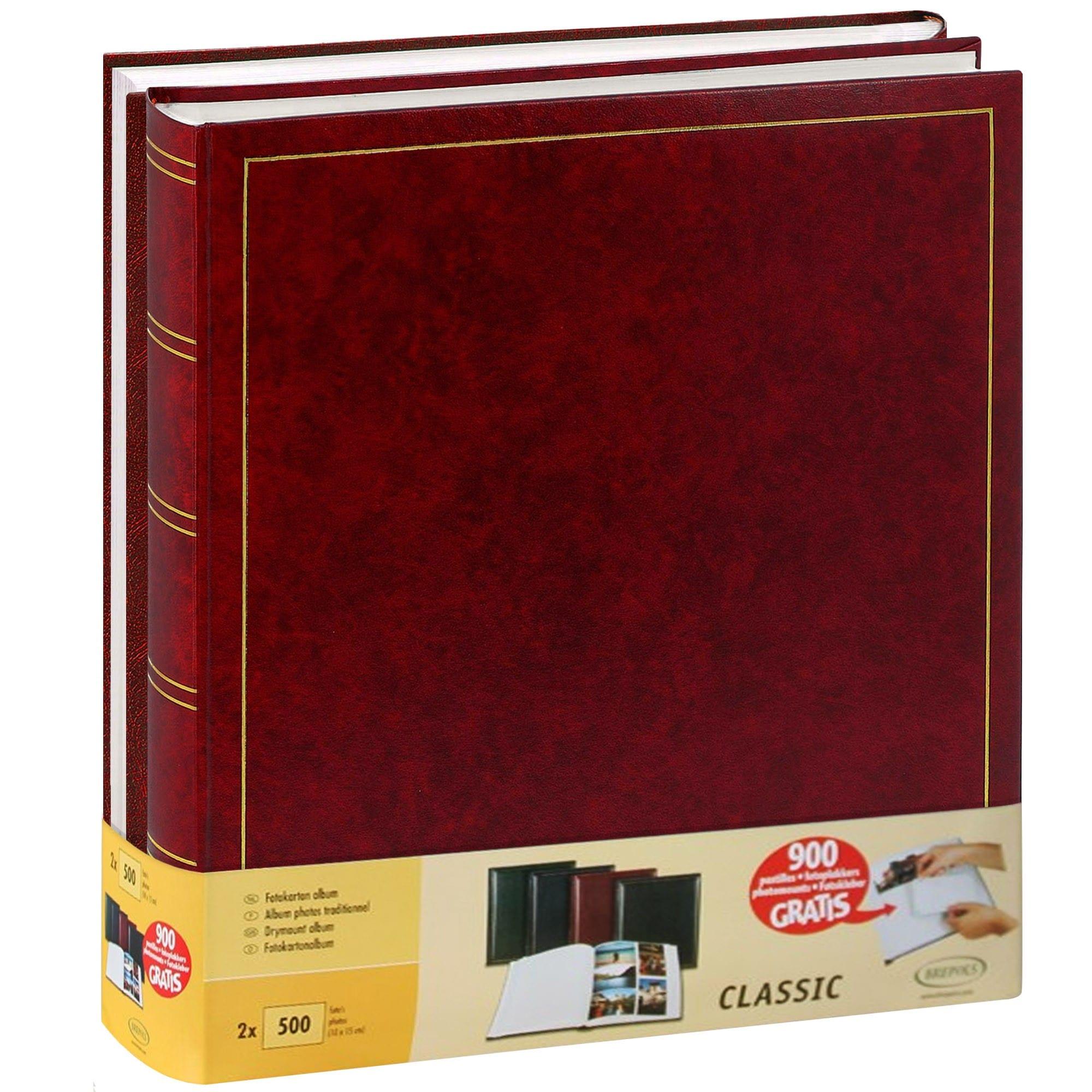 BREPOLS - Album photo traditionnel JUMBO - 100 pages blanches + feuillets cristal - 500 photos - Couverture Bordeaux 29x32cm - Lot de 2 + 900 pastilles