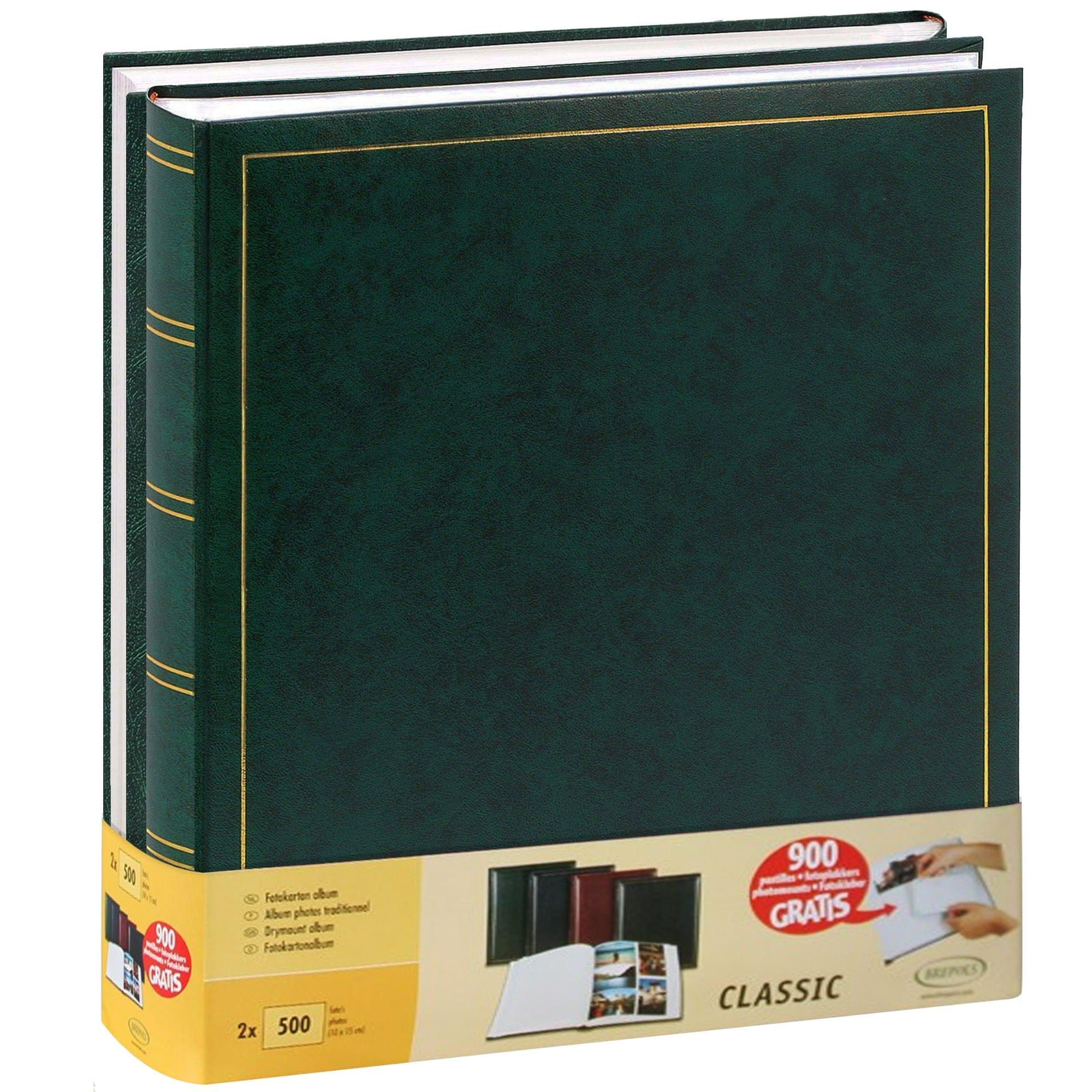 BREPOLS - Album photo traditionnel JUMBO - 100 pages blanches + feuillets cristal - 500 photos - Couverture Verte 29x32cm - Lot de 2 + 900 pastilles