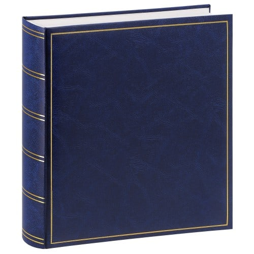 traditionnel ELITE - 100 pages blanches + feuillets cristal - 600 photos - Couverture bleue 32,5x34cm