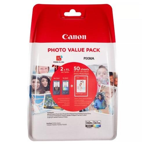 CANON - Cartouche d'encre Pixma - PG-560XL / CL-561XL - Multipack de 2 encres (Noir pigmenté, Cartouche couleur Cyan, Magenta, Jaune) + 50 feuilles 10x15