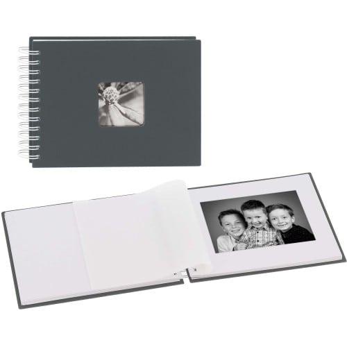 traditionnel FINE ART - 50 pages blanches + feuillet cristal - 50 photos - Couverture Grise 24x17cm
