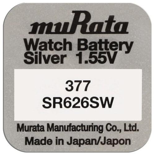 Pile montre 377 (SR626SW) 1.55V  Blister d'1 pile