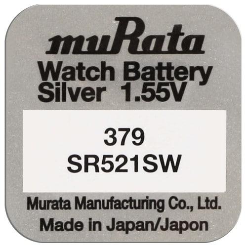 Pile montre 379 (SR521SW) 1.55V Blister d'1 pile