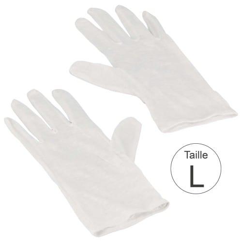 Gant MB TECH blanc 100% coton naturel - Haute qualité - Taille L (9) - La paire