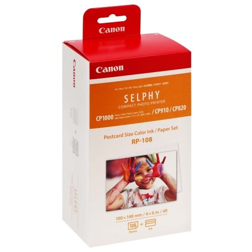 Consommable thermique CANON Kit Papier + encre pour imprimante SELPHY CP820/910/1000/1200/1300 - 10x15cm - 108 Feuilles (RP-108)