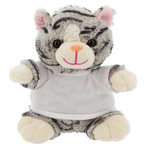 Peluche Chat + T-shirt blanc - Hauteur 21cm