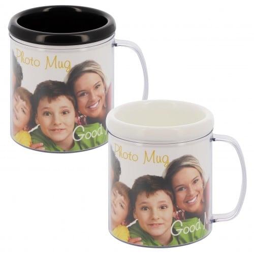 DEKNUDT - Mug Blanc ou Noir - Hauteur 10cm - Pour photo 9x25cm - Livraison coloris aléatoire par 1 tasse ou 1 coloris de chaque par 2 tass