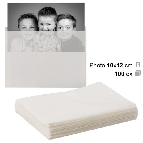 MB TECH - Pochette papier cristal 10,5 x 13,5 cm - Pour photo 10 x 12 cm - Lot de 100