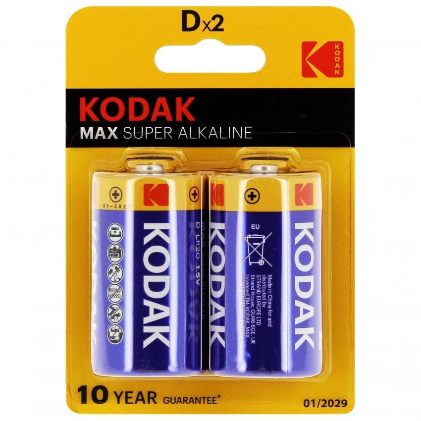 Pile alcaline LR20 KD2 AM1 1,5V KODAK MAX Blister de 2 piles