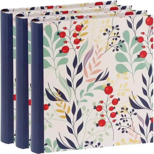 ERICA - Album photo pochettes avec mémo FLOWERS - 100 pages blanches - 200 photos - Couverture Bleue 24x24,8cm - Lot de 3 albums