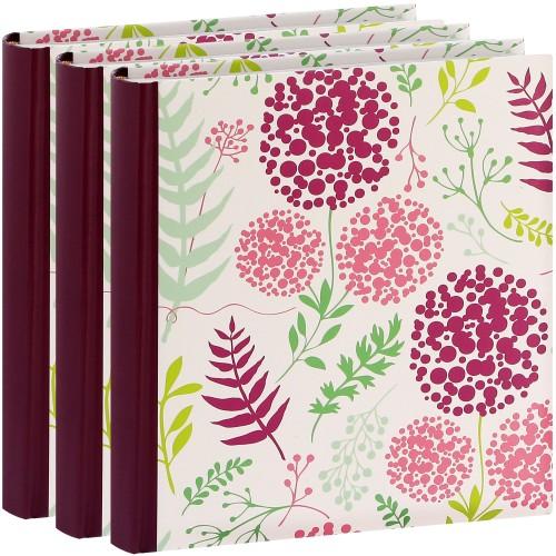 ERICA - Album photo pochettes avec mémo FLOWERS - 100 pages blanches - 200 photos - Couverture Violette 24x24,8cm - Lot de 3 albums