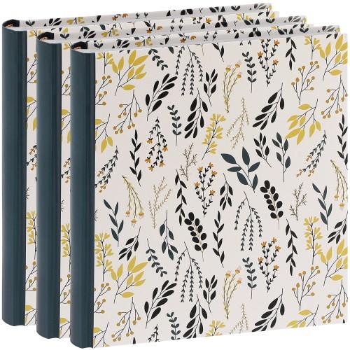 ERICA - Album photo pochettes avec mémo FLOWERS - 100 photos blanches - 200 photos - Couverture Noire 24x24,8cm - Lot de 3 albums