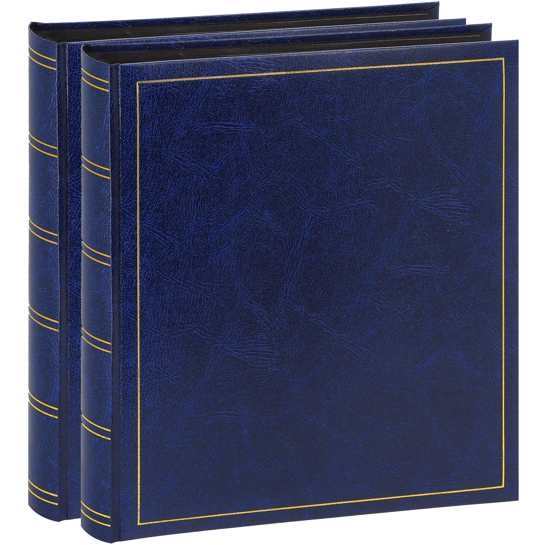 BREPOLS - Album photo traditionnel TURBO LINE - 100 pages noires + feuillets cristal - 500 photos - Couverture Bleue 29x32cm - Lot de 2 albums