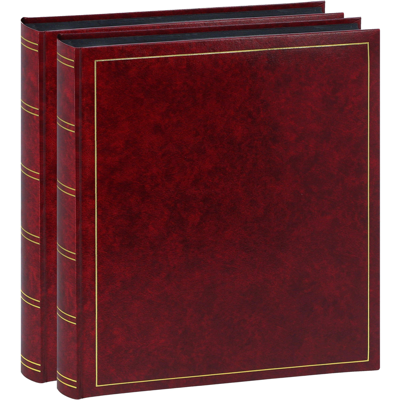 BREPOLS - Album photo traditionnel TURBO LINE - 100 pages noires + feuillets cristal - 500 photos - Couverture Bordeaux 29x32cm - Lot de 2 albums