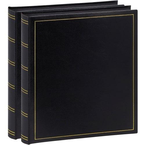 BREPOLS - Album photo traditionnel TURBO LINE - 100 pages noires + feuillets cristal - 500 photos - Couverture Noire 29x32cm - Lot de 2 albums