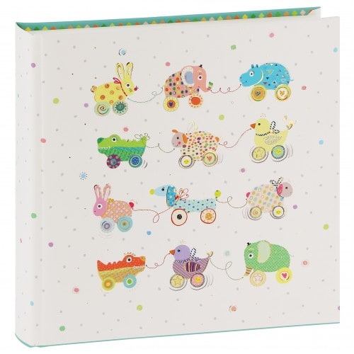 GOLDBUCH - Album photo traditionnel ANIMALS ON WHEELS - 60 pages blanches + feuillets cristal - 120 photos - Couverture Multicolore 25x25cm