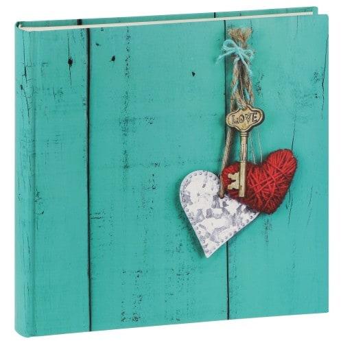 HAMA - Album photo traditionnel RUSTICO LOVE KEY - 100 pages blanches - 400 photos - Couverture Bleue Turquoise 30x30cm