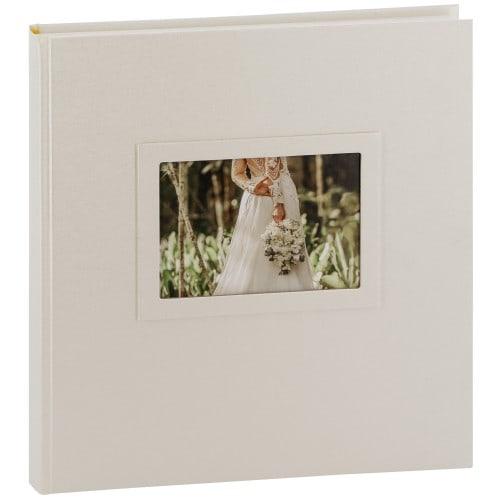 GOLDBUCH - Album photo traditionnel Mariage HEARTBEAT - 60 pages blanches + feuillets cristal - 240 photos - Couverture Blanche 30x31cm + fenêtre