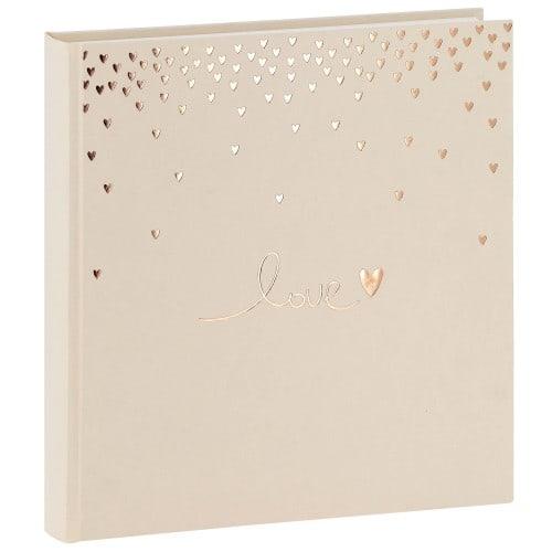 GOLDBUCH - Album photo traditionnel Mariage RAINING HEARTS - 60 pages blanches + feuillets cristal - 240 photos - Couverture Beige 30x31cm