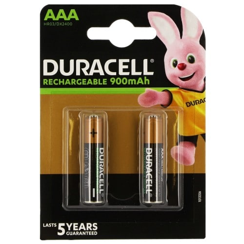 Piles rechargeables DURACELL Stay Charged LR03 (AAA) NiMH 800mAh Blister de 2 piles