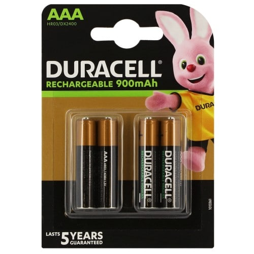 Piles rechargeables DURACELL Stay Charged LR03 (AAA) NiMH 850mAh Blister de 4 piles