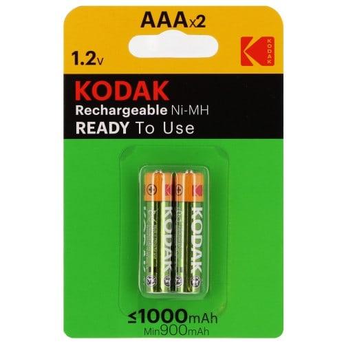 Piles rechargeables KODAK LR03 (AAA) NiMH 1000mAh Blister de 2 piles