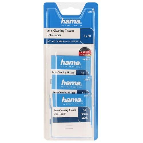 HAMA - Chiffon de nettoyage en papier - produit spécial pour objectif - 5 carnets de 30 feuilles 12 x 6cm