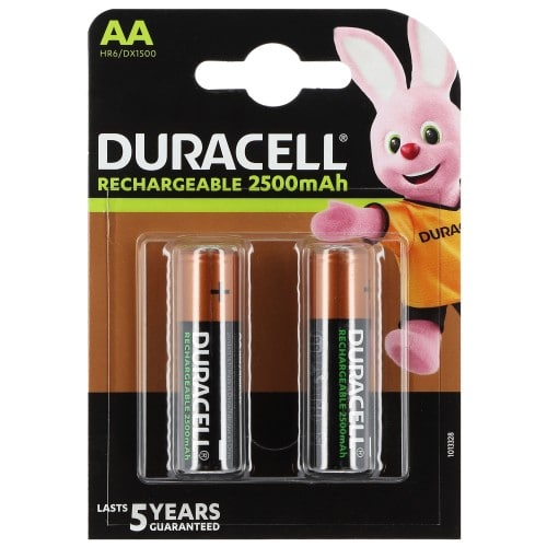 Piles rechargeables DURACELL Stay Charged LR6 (AA) NiMH 2400mAh Blister de 2 piles