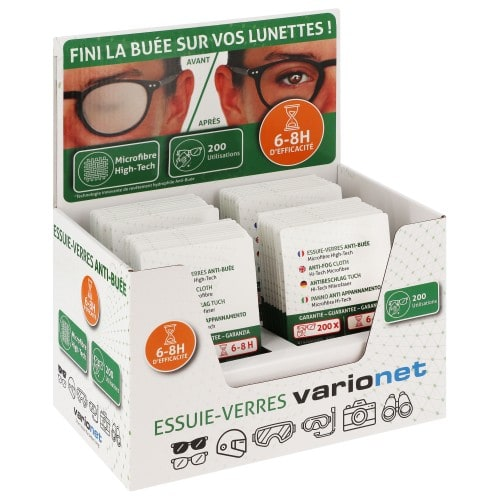 VARIONET - Essuie-verres Microfibre Anti-Buée - Présentoir de comptoir 40 Essuie-verres Verts -  Format 15 x18cm - 6 à 8 h de protection - pour 200 utilisations
