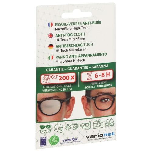 VARIONET - Essuie-verres Microfibre Anti-Buée Vert - Format 15 x18cm - Livré avec étui vinyle à pression - 6 à 8 h de protection - pour 200 utilisations