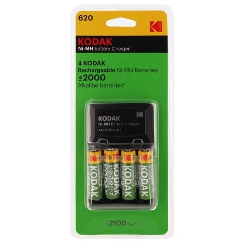 KODAK - Chargeur compact + 4 piles LR6 NiMH de 2100mAh (Recharge 4 piles LR6 ou LR03)