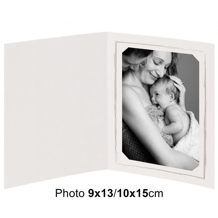 Chemise photo BESOIN & BARJON Collection FUSAIN : contour gris 2 volets - pour photo 9x13/10x15cm - Lot de 100
