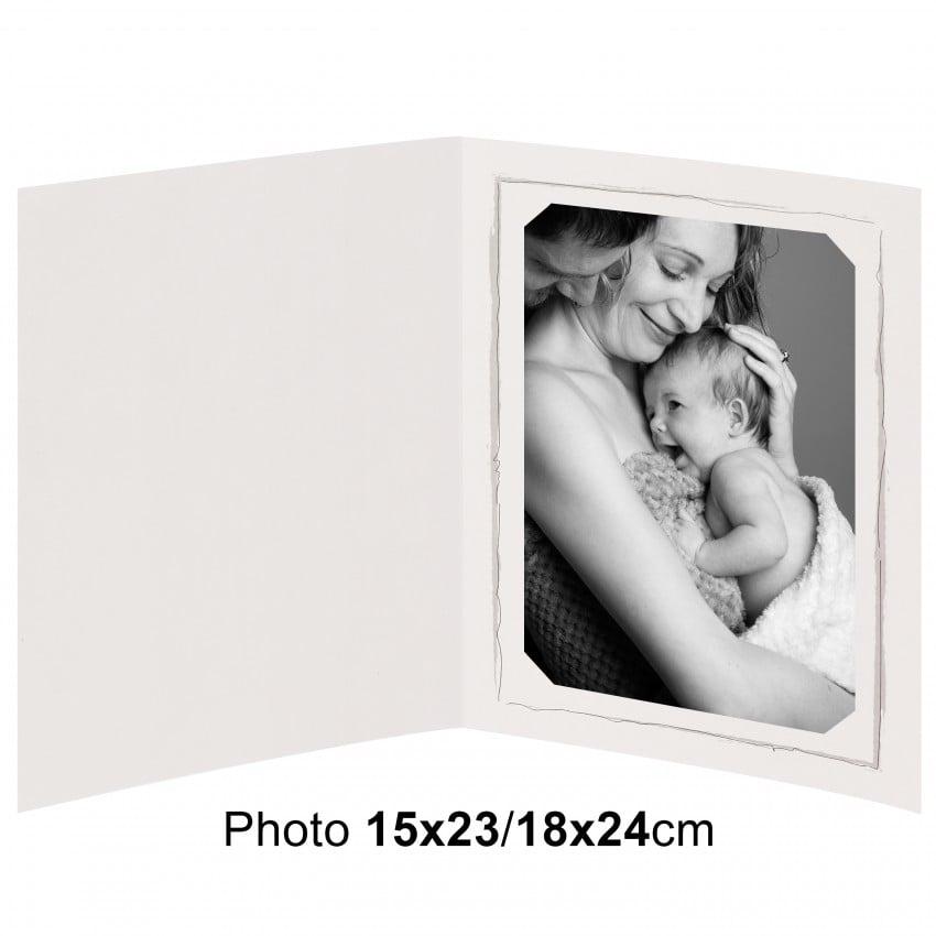 Chemise photo BESOIN & BARJON Collection FUSAIN : contour gris 2 volets - pour photo 15x23/18x24cm - Lot de 100