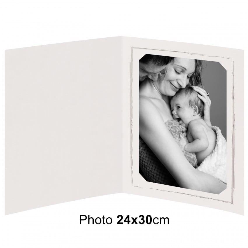 Chemise photo BESOIN & BARJON Collection FUSAIN : contour gris 2 volets - pour photo 24x30cm - Lot de 25