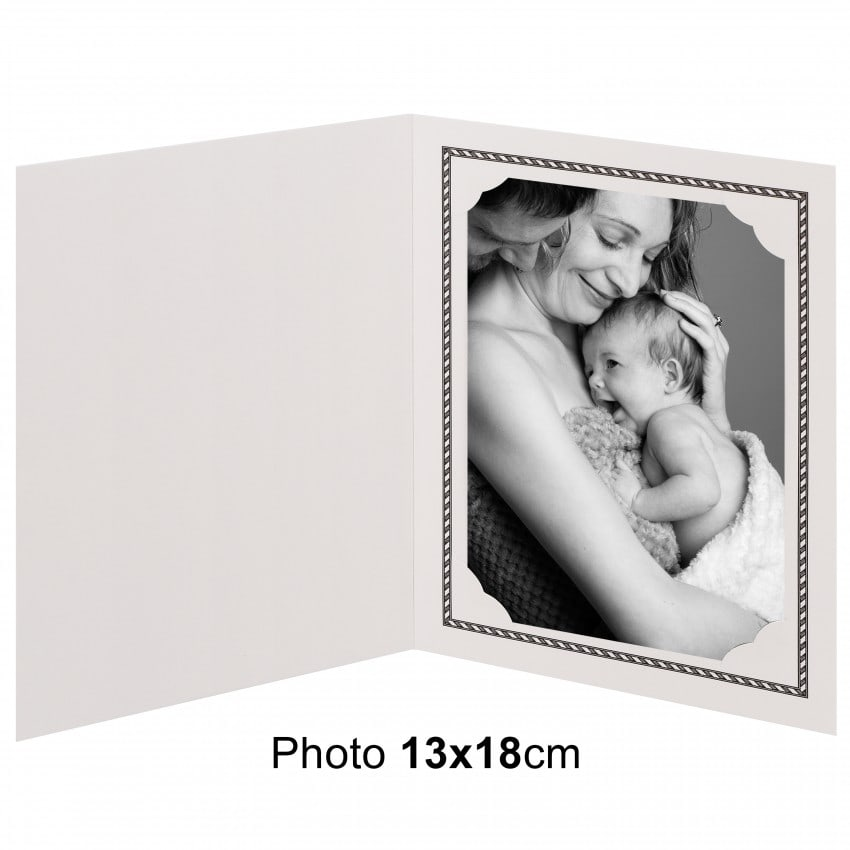 Chemise photo MB TECH Chemise pour photo 13x18 cm Collection OPUS : Liseré noir 2 volets Lot de 100