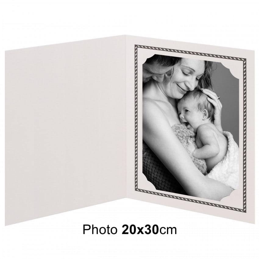 Chemise photo MB TECH Chemise pour photo 20x30cm Collection OPUS : Liseré noir 2 volets Lot de 100
