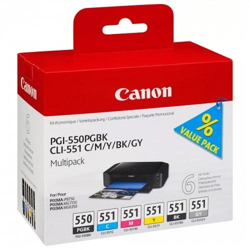 Canon cartouche PGI-550PGBK + CLI-551BK/C/Y/M/BK/GY *