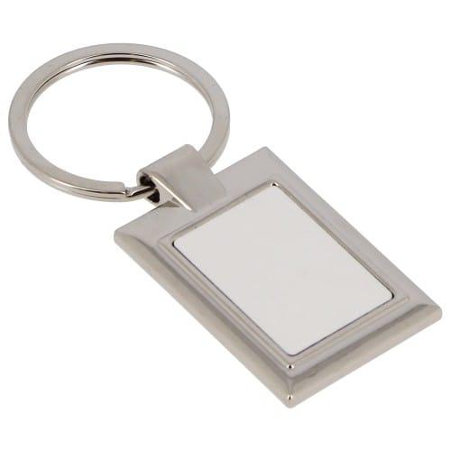 Porte-clefs métal - Forme rectangle (livré avec boîte cadeau noire) - Dim. 20x28mm