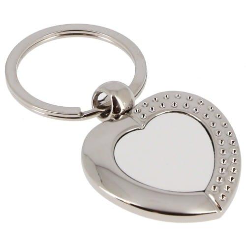 Porte-clefs TECHNOTAPE métal - Forme cœur + strass (livré avec boîte cadeau noire) - Dim. 23x21mm
