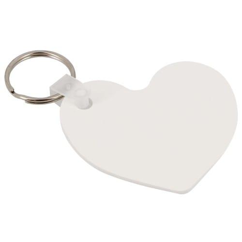 Porte-clefs UNISUB plastique - Forme cœur, recto-verso - Dim. 57,2x63,5mm (Ep. 2,29mm)