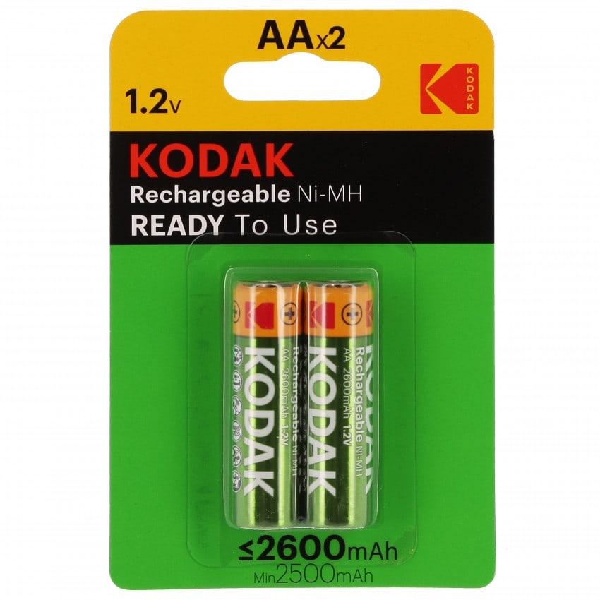 Piles rechargeables KODAK LR6 (AA) NiMH 2500mAh - Blister de 2 piles