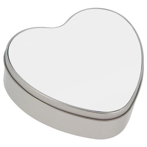 Boîte cadeau forme cœur en étain - Dim. 130x150x50mm - Avec feuille aluminium