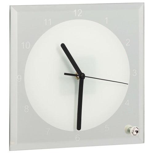 Horloge verre ronde 20cm - Aiguilles noires et rouges pour sublimation