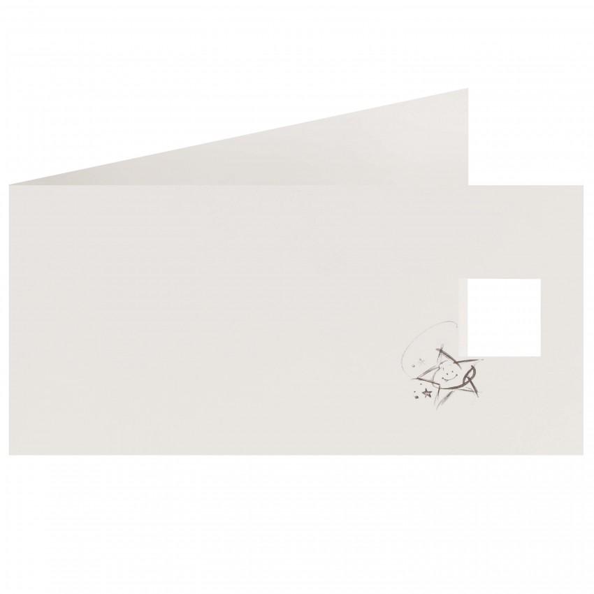 Faire-part POSITIV STERRE Blanc mat 9 x 18cm  (Enveloppe MBEE005 conseillée)